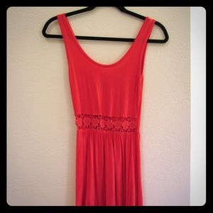 Coral dress with lace waistline